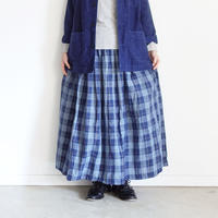 ichi 200711 Linen Cotton Indigo Check Skirt / 2 COLORS