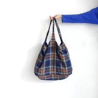 ichiAntiquités 600619 Linen Tartan Bag / B : NAVY
