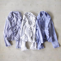 i c h i 181004 Frill Cardigan / White Stripe