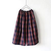 ichi 190931 Tartan Check Pants / NAVY × RED CHECK