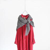 ichiAntiquités 600302 Color Linen Shirt Dress / E : RED