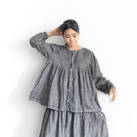 ichiAntiquités  601242  Handdye KHADI Cotton Pintuck Flare Shirt / A : SUMI