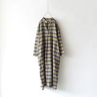 ichiAntiquités 500607 Woolgauze Check Dress / YELLOW