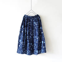 ichi 190418 Botanical Print Skirt / NAVY