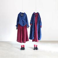 ichiAntiquités 500606 Woolgauze Check Skirt / RED