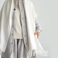 ichiAntiquités 500365 Cashmere100% Color Stole  / WHITE・VIOLET