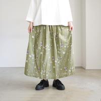 ichi 190418 Botanical Print Skirt / KHAKI