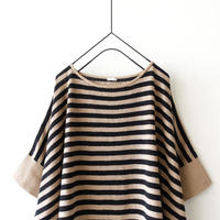 ichi 201253 Linen Border Knit Pullover / 2 COLORS