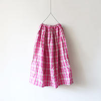 ichiAntiquités 500305 Linen Check Skirt / PINK