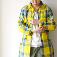 i c h i 181102 Cotton INDIGO Tartan Check Dress / Yellow