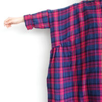 【 ONLINE LIMITED 】ichi 200525 Wool Gauze One Piece / A : PINK CHECK