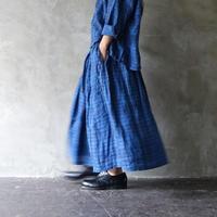 ichi 201227 Indigo Linen Check Skirt  / B : CHECK