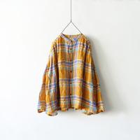 ichiAntiquités 600108 Linen Madras Shirt / ORANGE