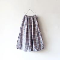 ichiAntiquités 500305 Linen Check Skirt / BLUE