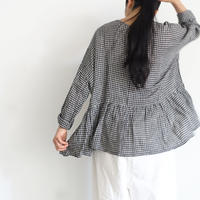 ichiAntiquités 500910  Cotton Linen Gingham Pullover / BLACK