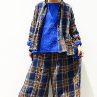 ichiAntiquités 600615 Linen Tartan Shirt  / B : NAVY