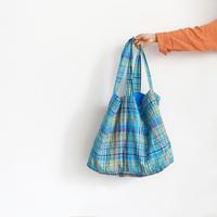 ichiAntiquités 600308 Linen Colorful Check Bag / TURQUOISE