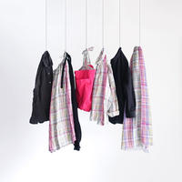 ichiAntiquités 600307 Linen Colorful Check Skirt / PINK