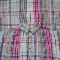 ONLINELIMITED  ichiAntiquités 600338 Linen Colorful Check Shirt Dress / PINK