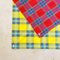i c h i 181105 Cotton INDIGO Tartan Check Stole / Red