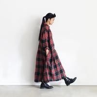 ichiAntiquités 600616 Linen Tartan Shirt Dress / A : BLACK
