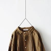 ichiAntiquités 100901  Linen Big Shirt Dress / BROWN