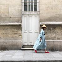 ichiAntiquités 500135 Vacance Linen Stripe Shirt Dress / TURQUOISE STRIPE