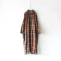 ichiAntiquités 600318 Linen Classic Tartan Shirt Dress / CAMEL