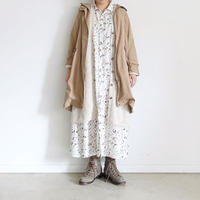 ichi 200407 Flower Print Shirt One Piece / B : BEIGE