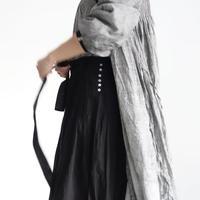ichiAntiquités  601241  KHADI Cotton Pintuck Flare Skirt / B : BLACK