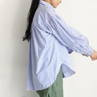 ichiAntiquités 600905 Cotton STRIPE Volume Sleeve Shirt / 2 COLORS : BLACK STRIPE・BLUE STRIPE