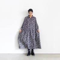 ichiAntiquités 600314 Linen Flower Shirt Dress / NAVY
