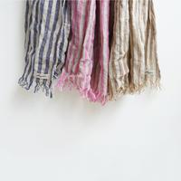 ichiAntiquités 100913  Linen Stripe Stole / 3 COLORS