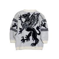 【アメリカ古着】 80s アクリルニット セーター 柄◎モノトーン Lサイズ