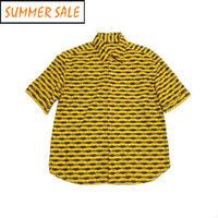 【アフリカ古着】 シンプルかつハイセンス! カンガシャツ 大き目サイズ