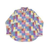 【J.CREW】 90s ビッグシルエット! BDパッチワークシャツ Lサイズ
