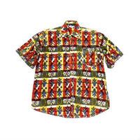 【アフリカ古着】 ナイス!総柄 カンガシャツ おすすめ◎