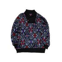 【ヨーロッパ古着】 フランス製 ショールカラー セーター ナイス総柄 黒ベース!