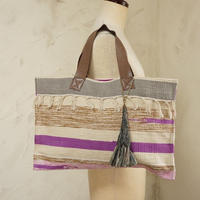 フィリピン手織り布・牛革ハンドルトート(B)