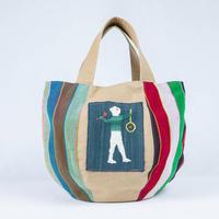 301|ミャンマー・パラウン族の手織り布とナガ族手刺繍ボニートート(size/M)