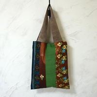 インドネシア絣×ミャンマーミシン刺繍 A4トート(A)