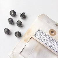 Vintage button/ヴィンテージボタン MSV048/Metal Silver/6pcs set