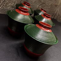 Japan Antique 糸目 千筋 溜塗 本漆 小型吸物椀  5客揃 茶懐石 茶道具