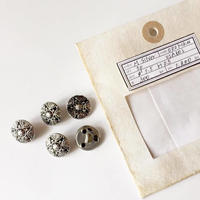 Vintage button/ヴィンテージボタン MSV072/Metal Silver/5pcs set