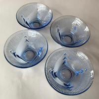 Japan Vintage 大正 ロマン 昭和レトロ 氷コップ ソーダ ガラス ボウル プレス ブルー 4pcs set