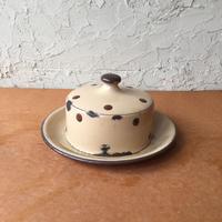 England antique バターケース チーズ 琺瑯 ホーロー ホウロウ 水玉 ドット