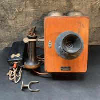 Japan Vintage 大正時代 木製 壁掛 電話機 アンティーク 日本電氣 骨董