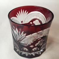 Japan Vintage 明治 切子 赤色被せ ロックグラス 明治期 旧家蔵出し 江戸切子