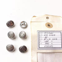Vintage button/ヴィンテージボタン MSV014/Metal Silver/6pcs set