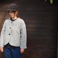 Sliver Knit No Collar Jacket/nachukara/nk-42888